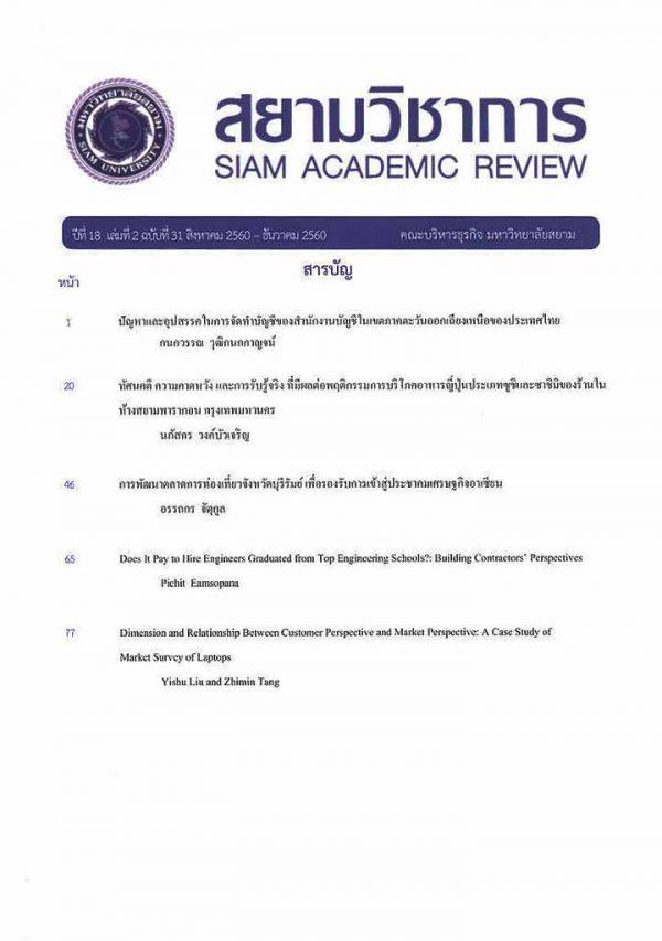 สยามวิชาการ-siam academic review-มหาวิทยาลัยสยาม-ปีที่18ฉบับที่31-สิงหาคม-ธันวาคม-2560