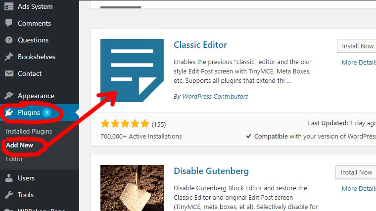 wordpress-plugin-classic editor