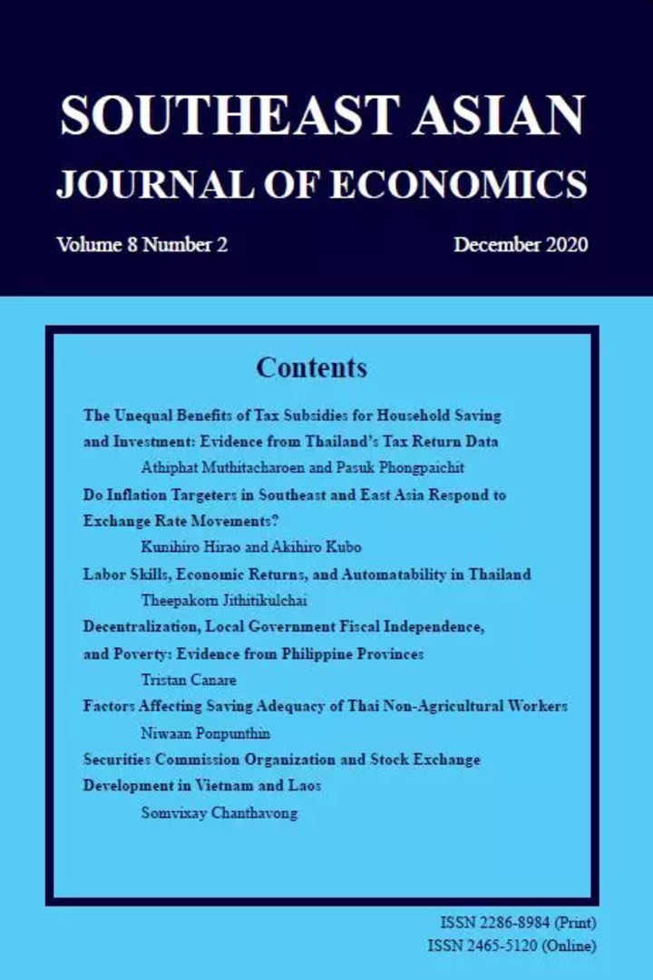 SOUTHEAST ASIAN JOURNAL OF ECONOMICS