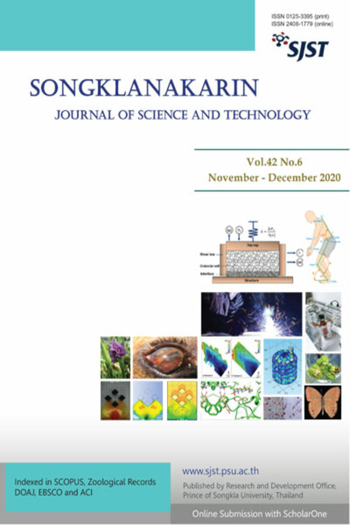 Songklanakarin Journal of Science and Technology